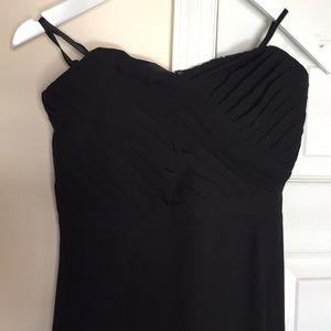 Black strapless formal maxi dress